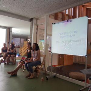 Equip educatiu de l'EBM elCel Blau exposant amb projecció el seu projecte